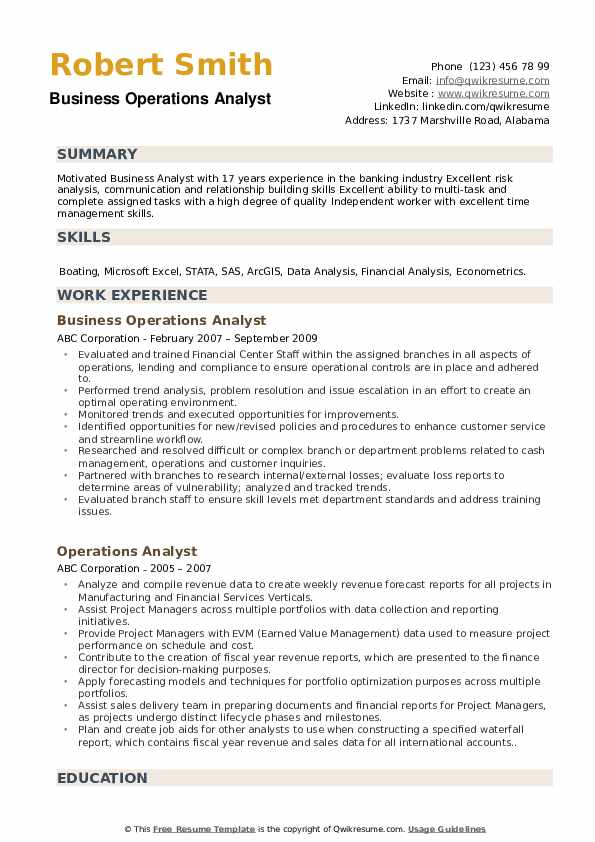 Business Operations Analyst Resume Model