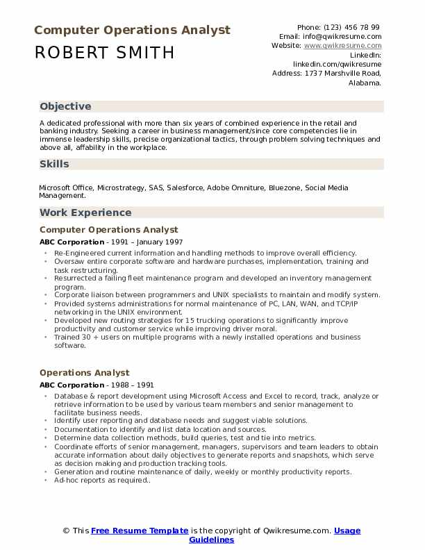 Computer Operations Analyst Resume Sample