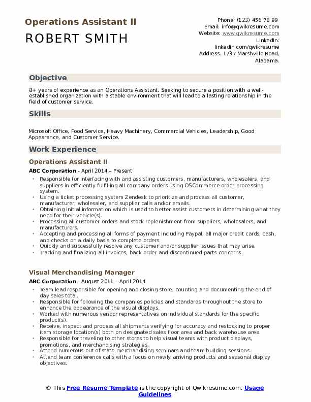 Operations Assistant II Resume Format