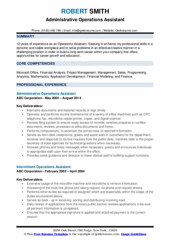Administrative Operations Assistant Resume Format