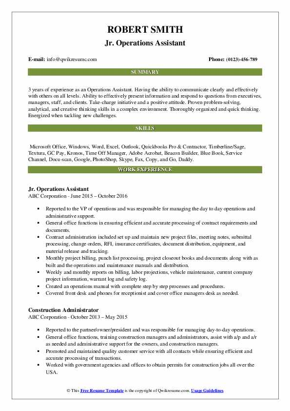 Operations Assistant Resume Samples Qwikresume