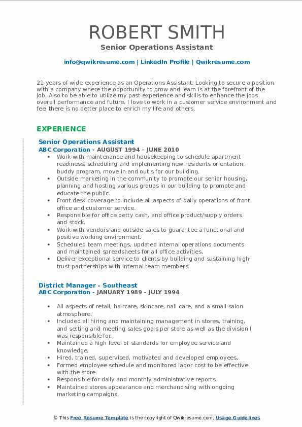 Senior Operations Assistant Resume Template