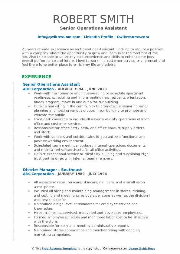 Senior Operations Assistant Resume Model
