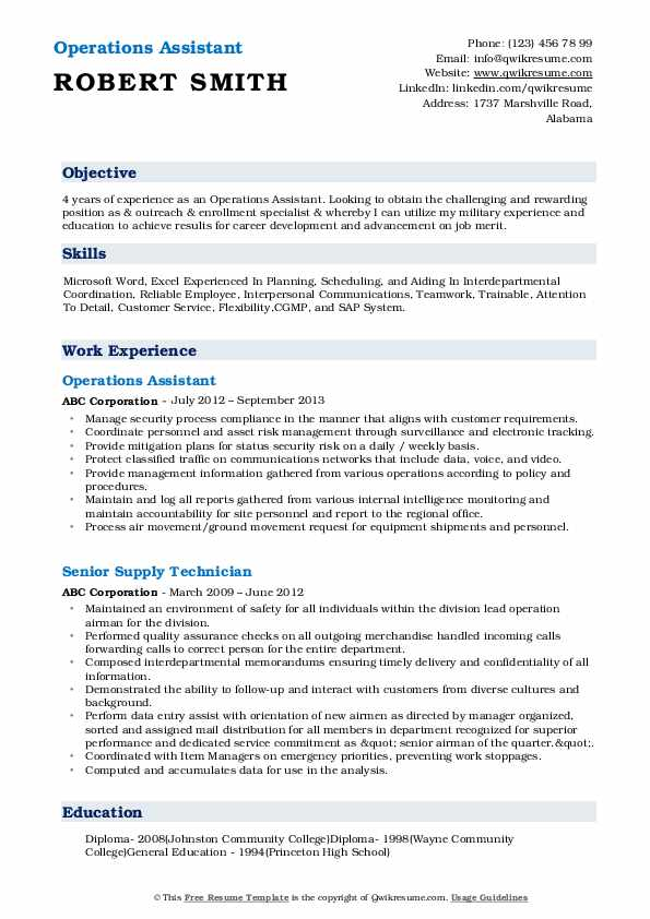 Operations Assistant Resume Model
