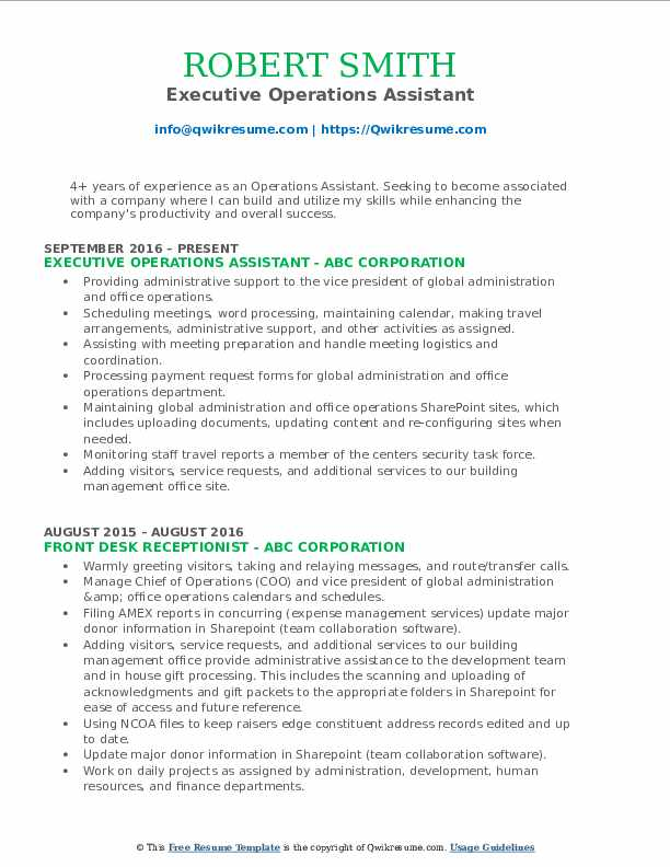 Executive Operations Assistant Resume Format