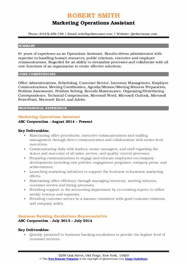 Marketing Operations Assistant Resume Sample