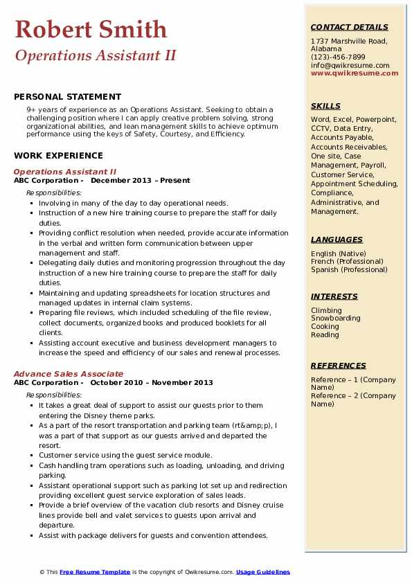 Operations Assistant II Resume Example