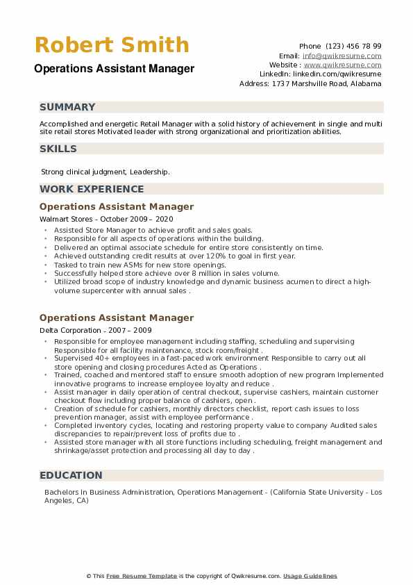 Operations Assistant Manager Resume example