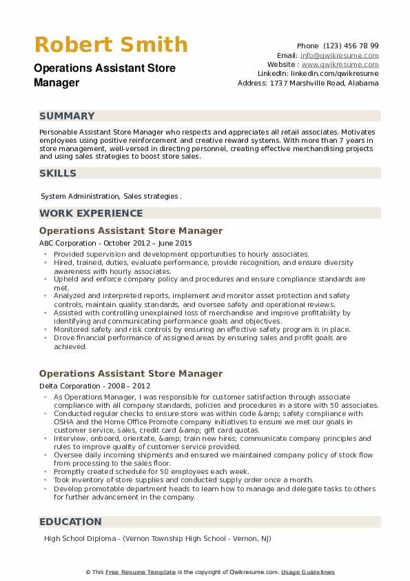 Operations Assistant Store Manager Resume example