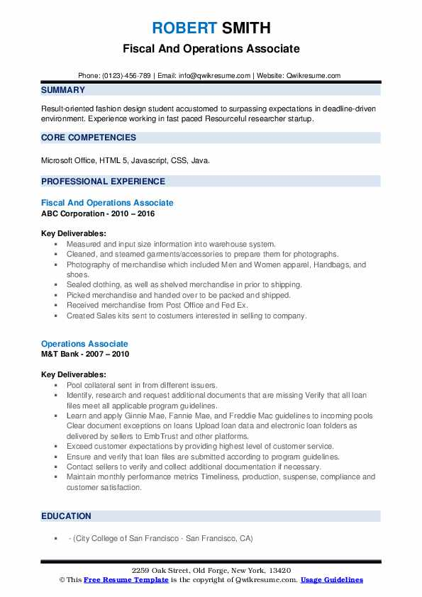 Fiscal And Operations Associate Resume Format