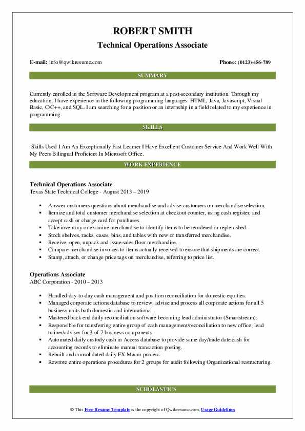Technical Operations Associate Resume Template