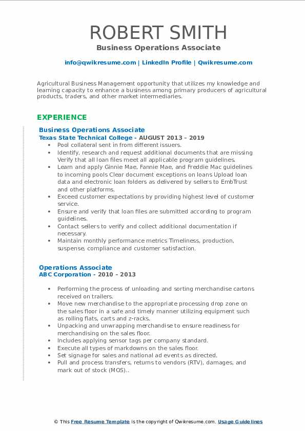 Business Operations Associate Resume Model