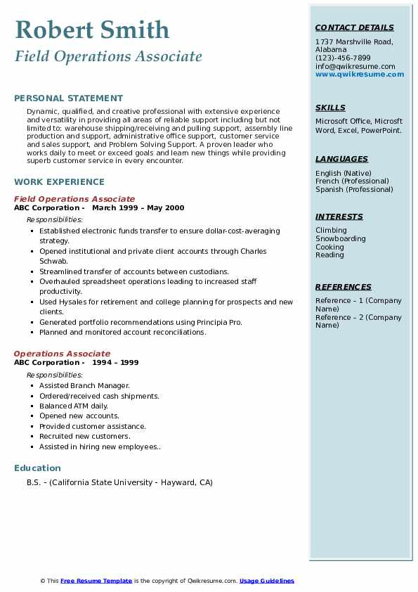 Field Operations Associate Resume Model