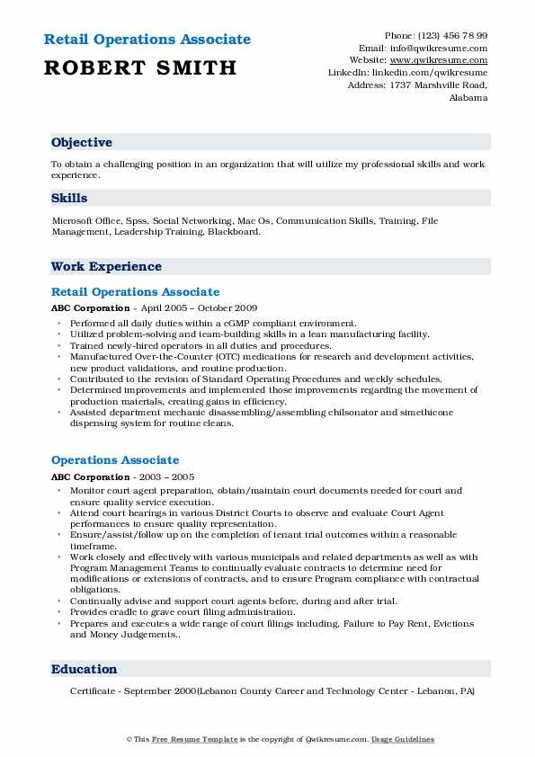 Retail Operations Associate Resume Format