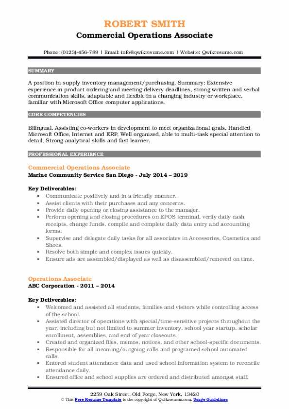 Commercial Operations Associate Resume Example