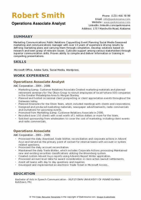 Operations Associate Analyst Resume Model
