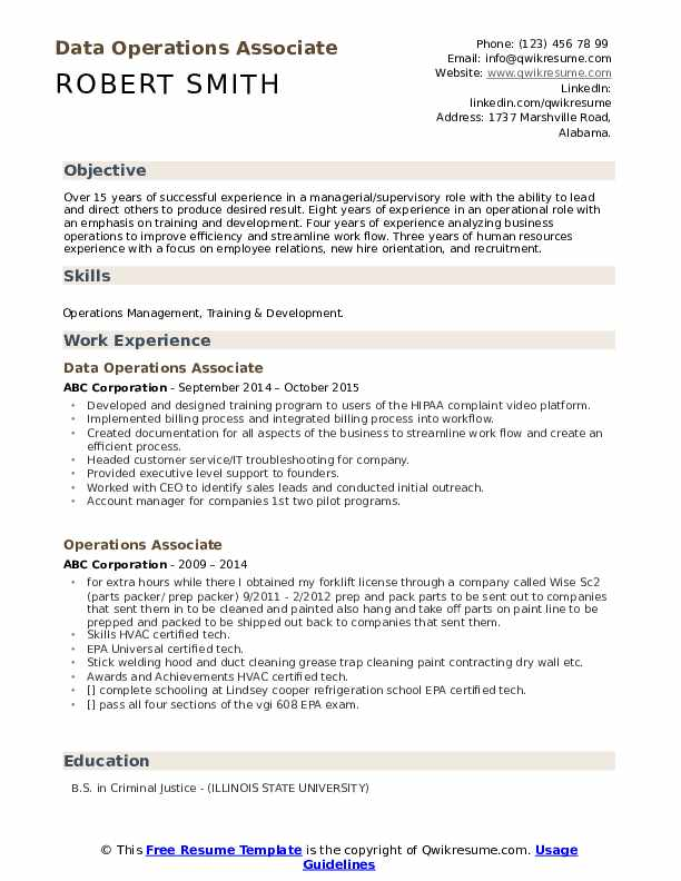 Data Operations Associate Resume Template
