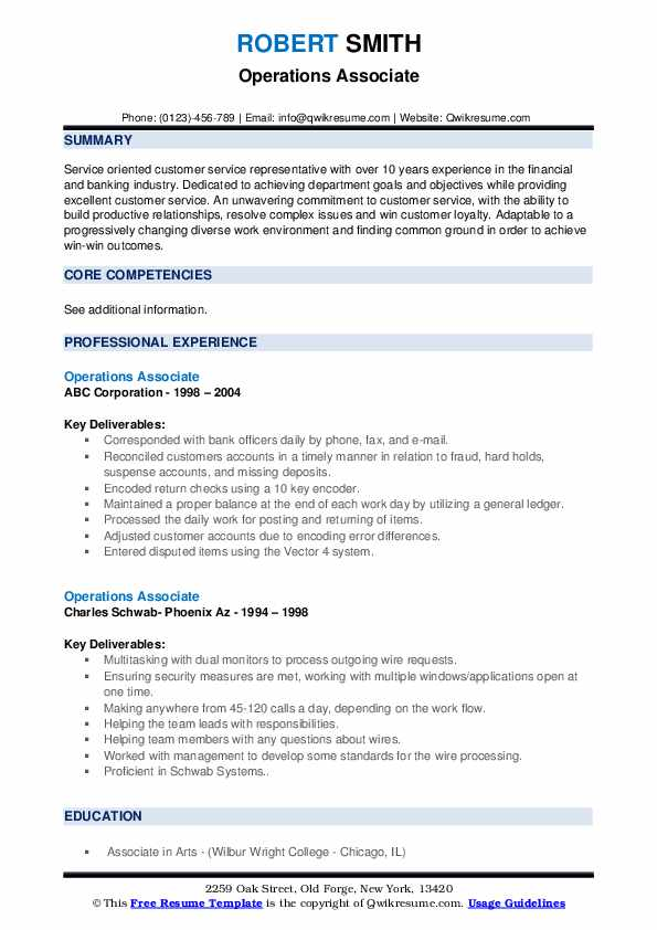Operations Associate Resume example
