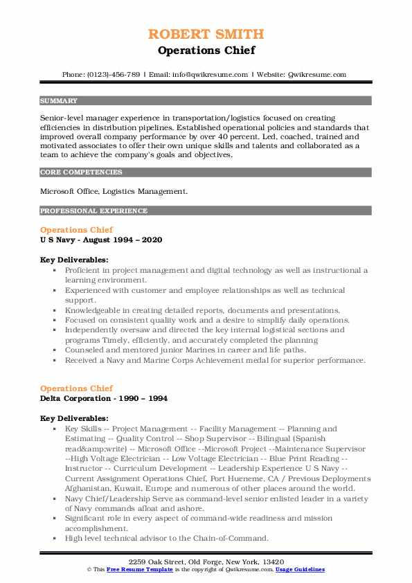 Operations Chief Resume example