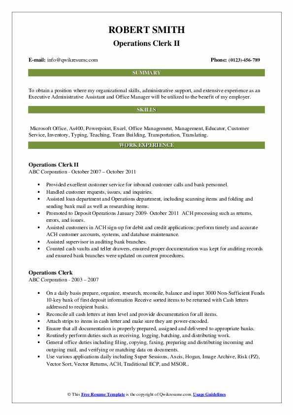 Operations Clerk Resume Samples | QwikResume