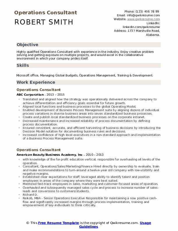 Operations Consultant Resume Format