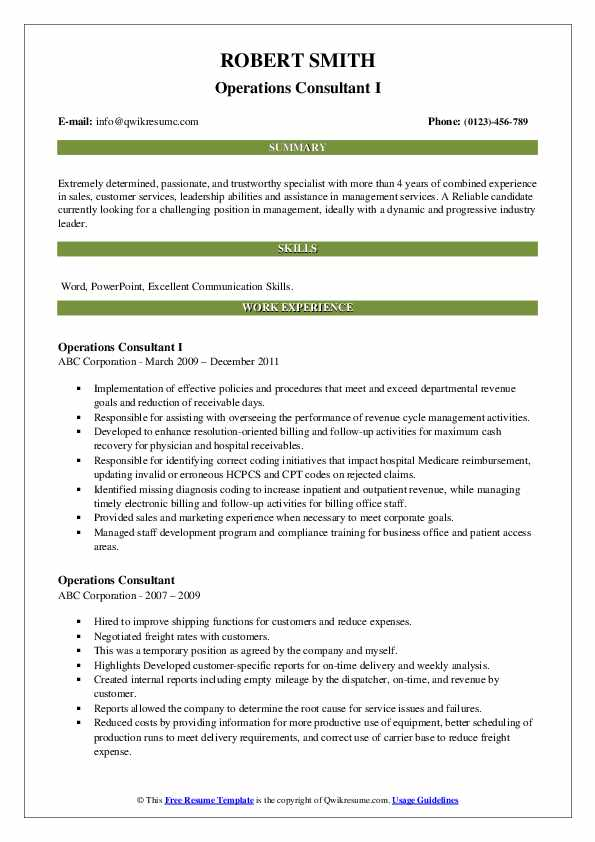 Operations Consultant I Resume Example
