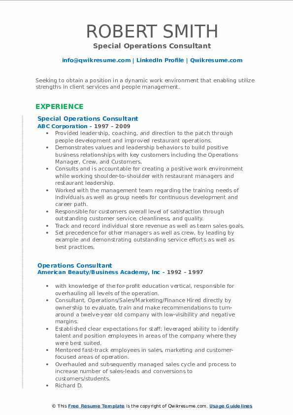 Special Operations Consultant Resume Model