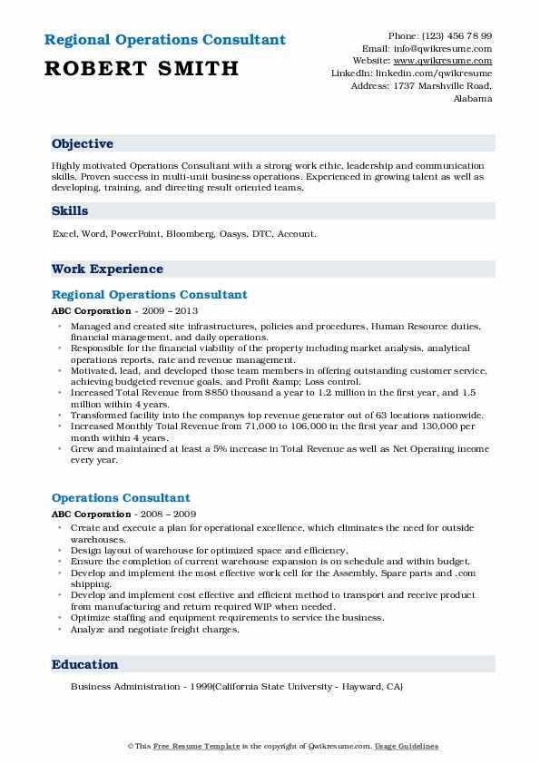 Regional Operations Consultant Resume Example