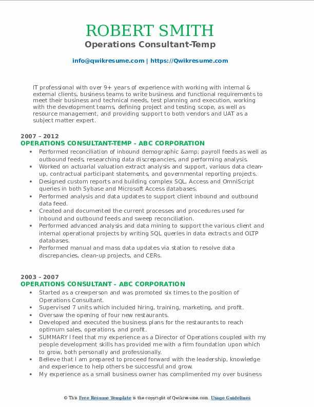 Operations Consultant-Temp Resume Format