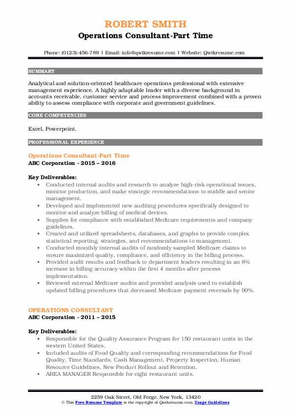 Operations Consultant-Part Time Resume Template