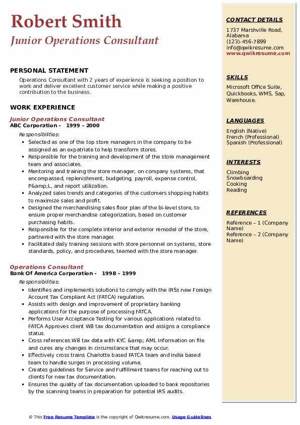 Junior Operations Consultant Resume Sample