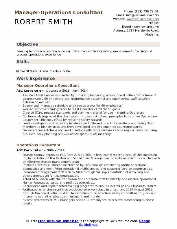 Manager-Operations Consultant Resume Format