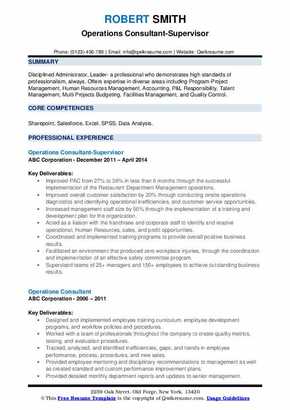Operations Consultant-Supervisor Resume Example