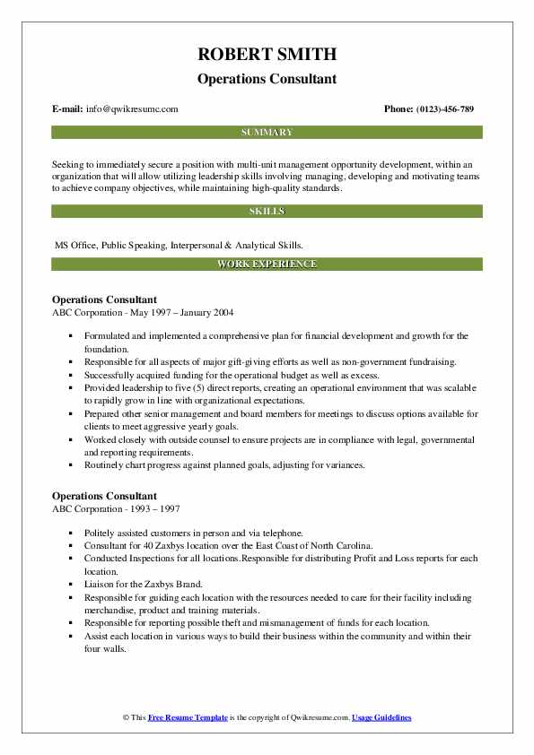Operations Consultant Resume example