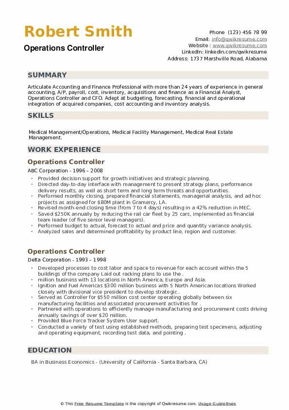 Operations Controller Resume example