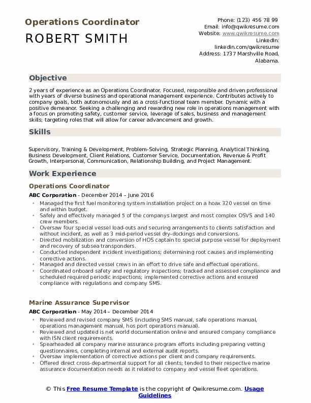 Operations Coordinator Resume Template
