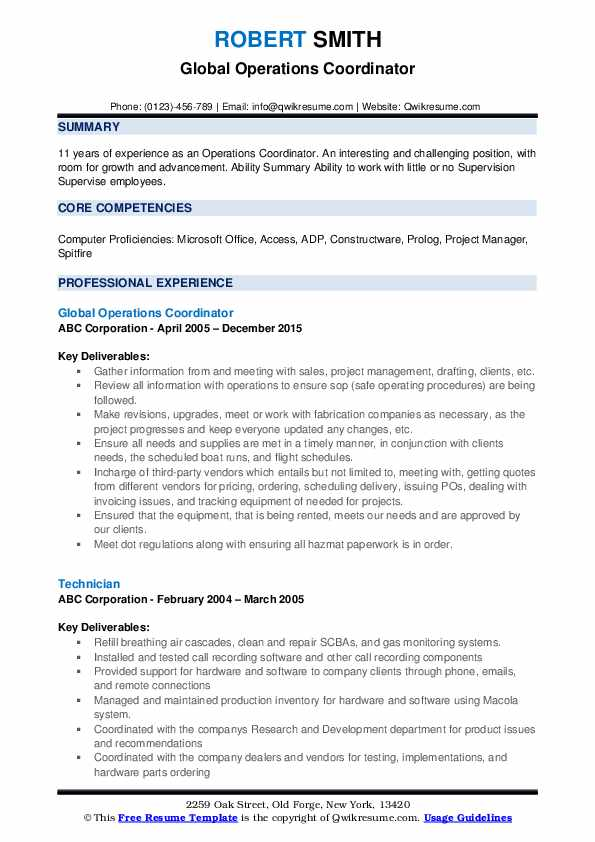 Global Operations Coordinator Resume Sample