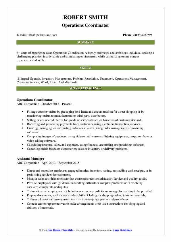 Operations Coordinator Resume Example