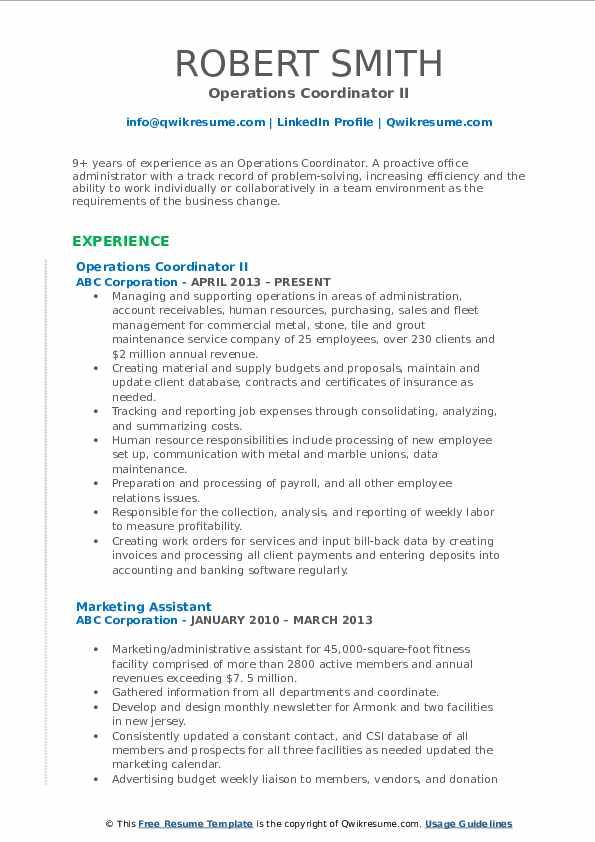 Operations Coordinator II Resume Format