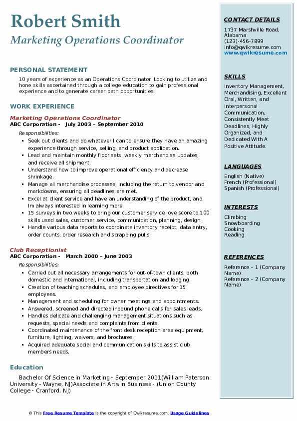 Marketing Operations Coordinator Resume Format