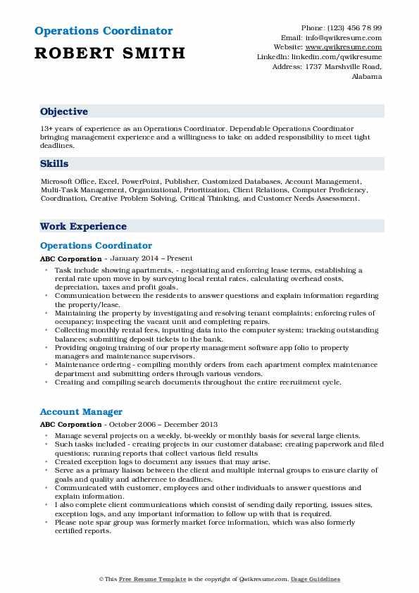 Operations Coordinator Resume Sample