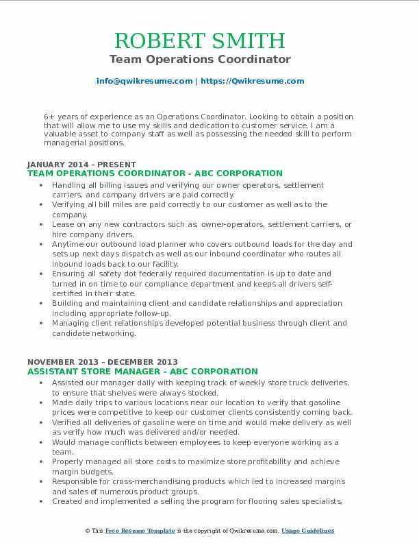 Team Operations Coordinator Resume Sample