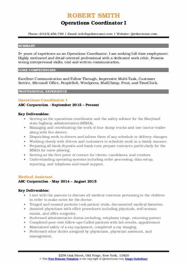 Operations Coordinator I Resume Template