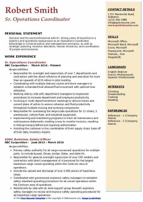 Sr. Operations Coordinator Resume Template