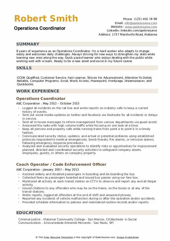 Operations Coordinator Resume example