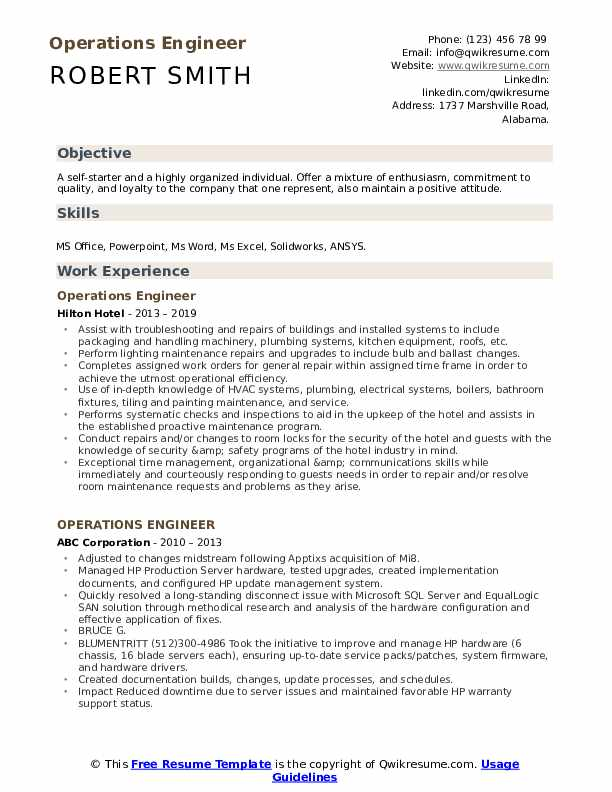 Operations Engineer Resume Format