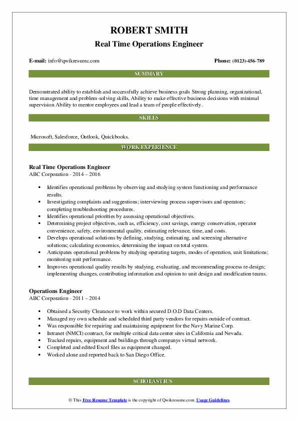 Real Time Operations Engineer Resume Model