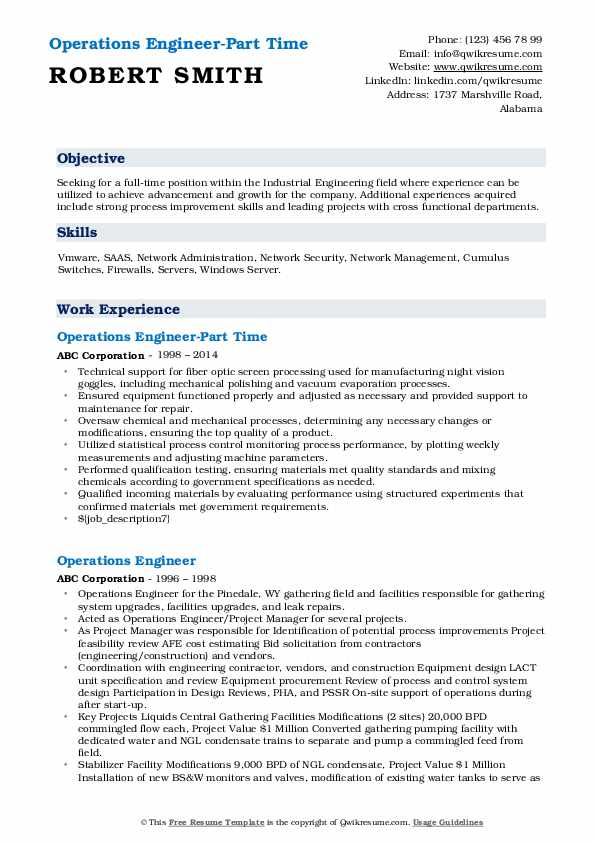 Operations Engineer-Part Time Resume Format