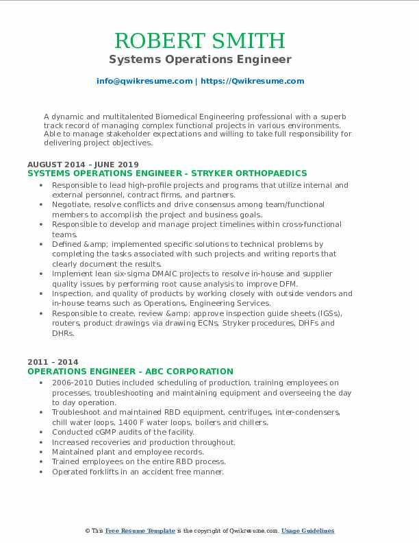 Systems Operations Engineer Resume Template
