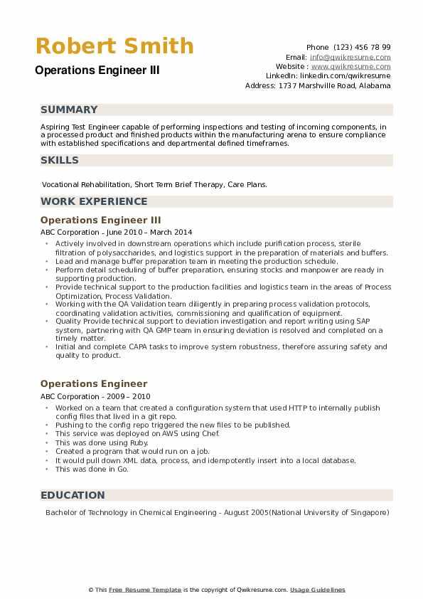 Operations Engineer III Resume Model